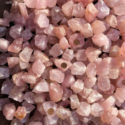Rose Quartz Chunk with Keepers Pouch Raw Natural Pink Crystal of Love